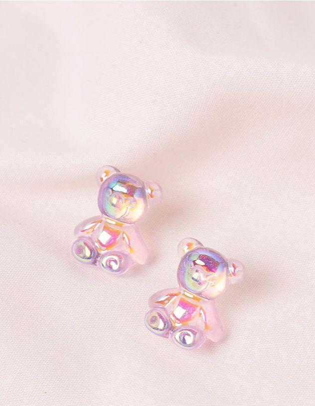 Сережки з гвіздочками голографічні у вигляді ведмедиків | 244160-03-XX - A-SHOP