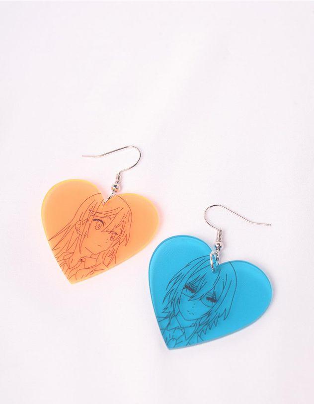 Сережки у вигляді сердець з зображенням героїв аніме | 249186-21-XX - A-SHOP