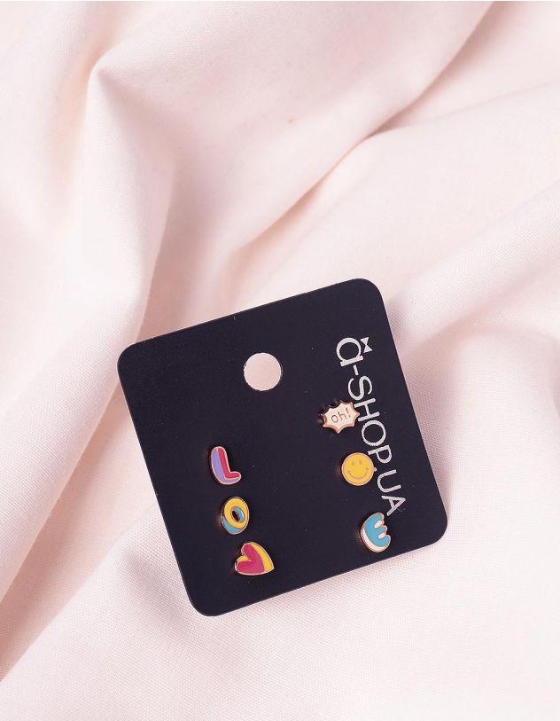 Сережки пусети у наборі з написом love | 244810-21-XX - A-SHOP