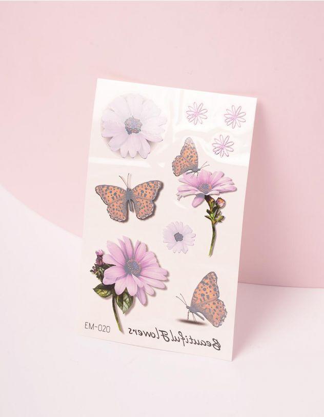 Татуювання тимчасове з малюнком квітів та метеликів | 243400-21-XX - A-SHOP