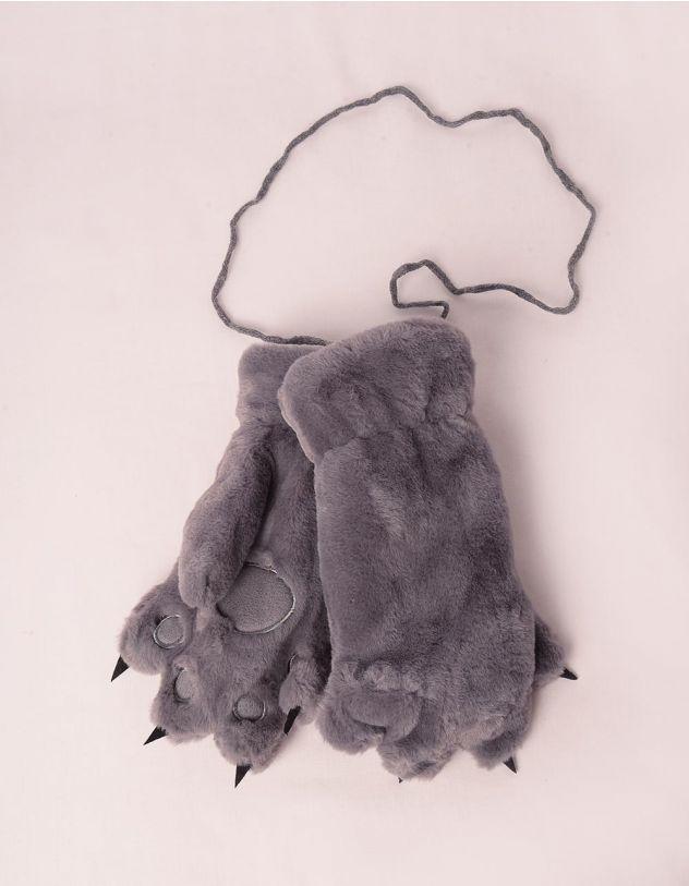 Рукавиці на резинці хутряні у вигляді лапок | 248255-11-XX - A-SHOP