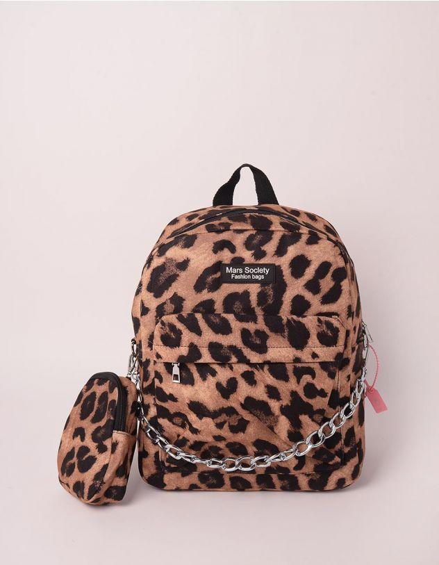 Рюкзак з принтом тварини з монетницею на ланцюжку | 248982-12-XX - A-SHOP