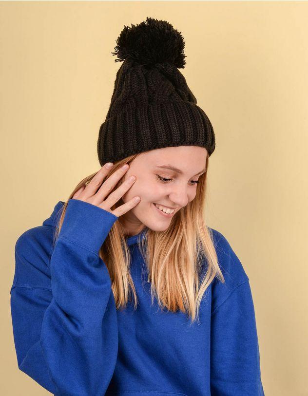 Шапка з бубоном та плетеними косами | 220239-02-XX - A-SHOP