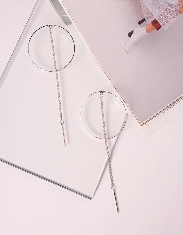 Сережки довгі у вигляді кілець з ланцюжками   240074-05-XX - A-SHOP
