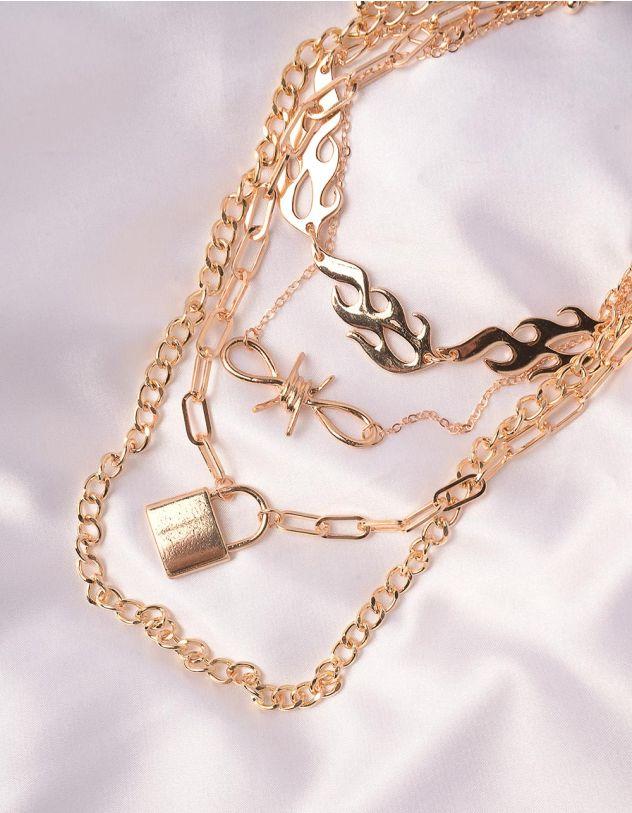 Підвіска на шию із ланцюжків з кулонами у вигляді вогню та замка   246063-04-XX - A-SHOP