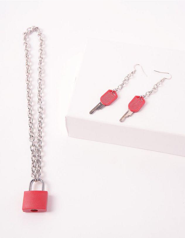 Комплект із підвіски та сережок із ланцюжків з кулонами у вигляді замка та ключів | 244244-15-XX - A-SHOP