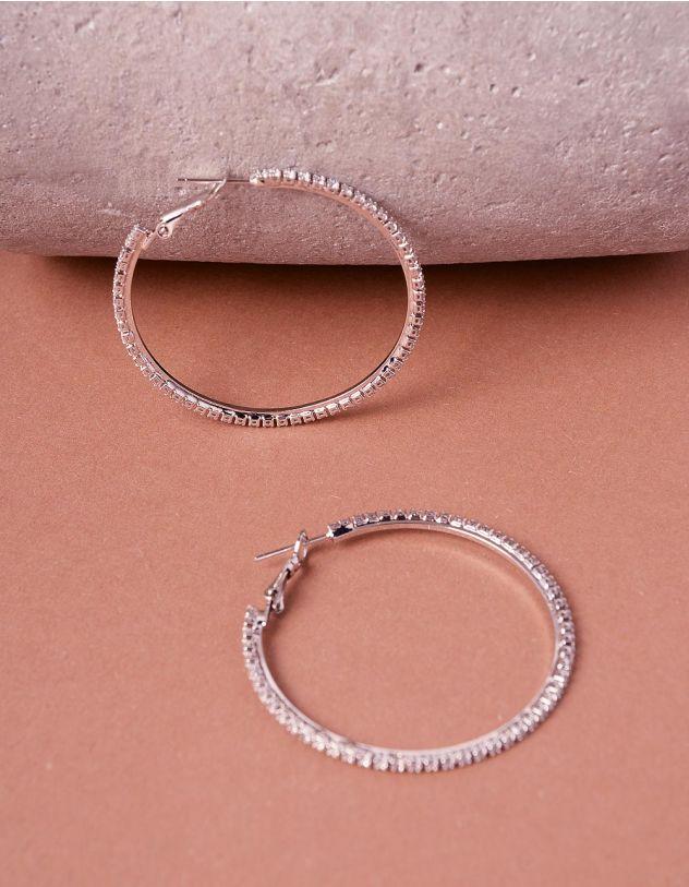 Сережки кільця декоровані стразами | 243520-06-XX - A-SHOP