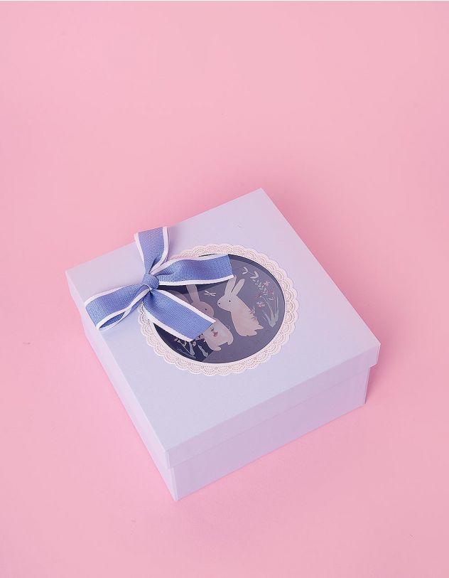 Коробка подарункова з бантом та малюнком зайців | 241399-18-XX