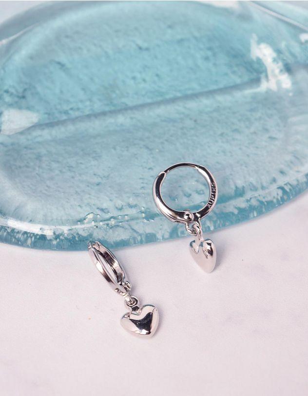 Сережки кільця з кулоном у вигляді серця | 240999-05-XX - A-SHOP