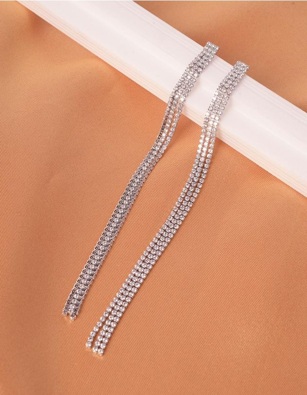 Сережки довгі інкрустовані стразами | 240561-06-XX - A-SHOP