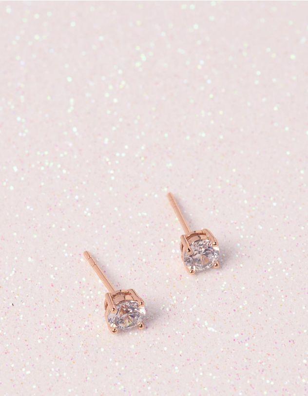Сережки  пусети зі стразами | 241298-08-XX - A-SHOP