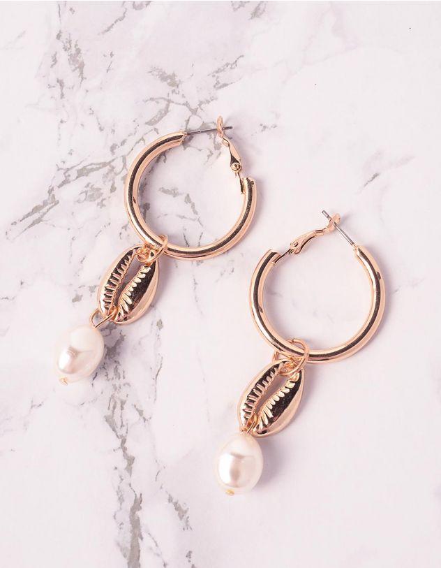 Сережки кільця з мушлями та перлинами | 239721-08-XX - A-SHOP