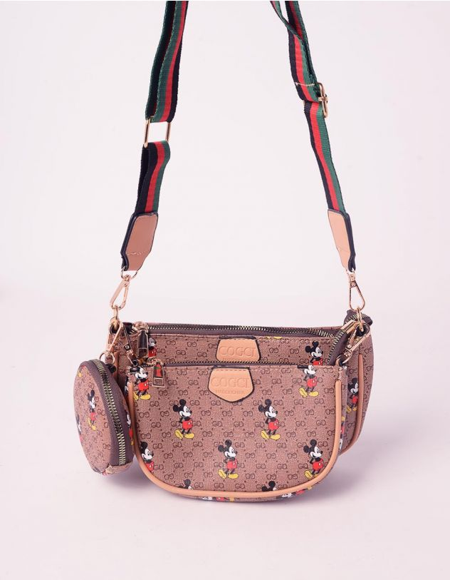 Сумка на плече з принтом Міккі Мауса у комплекті з клатчем та монетницею | 242411-12-XX - A-SHOP