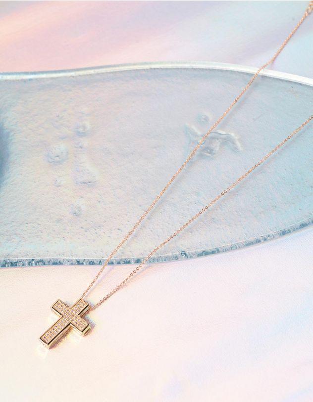 Підвіска з хрестиком декорованим камінцями | 237128-08-XX - A-SHOP