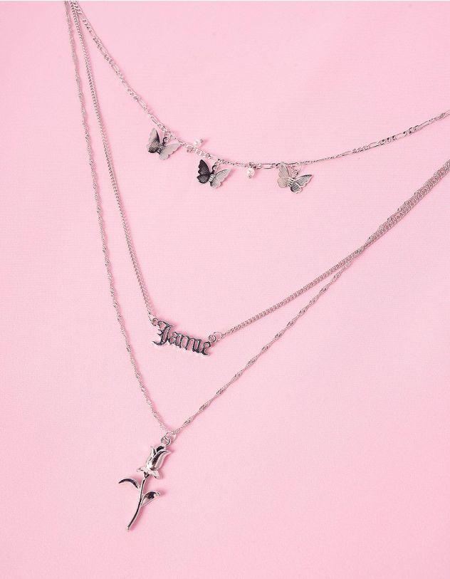 Підвіска на шию багатошарова з кулонами у вигляді метеликів та троянди | 245889-05-XX - A-SHOP