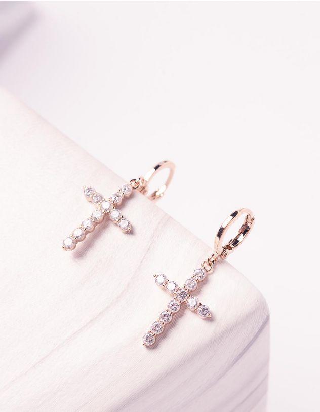 Сережки маленькі з хрестиками у стразах   244959-08-XX - A-SHOP