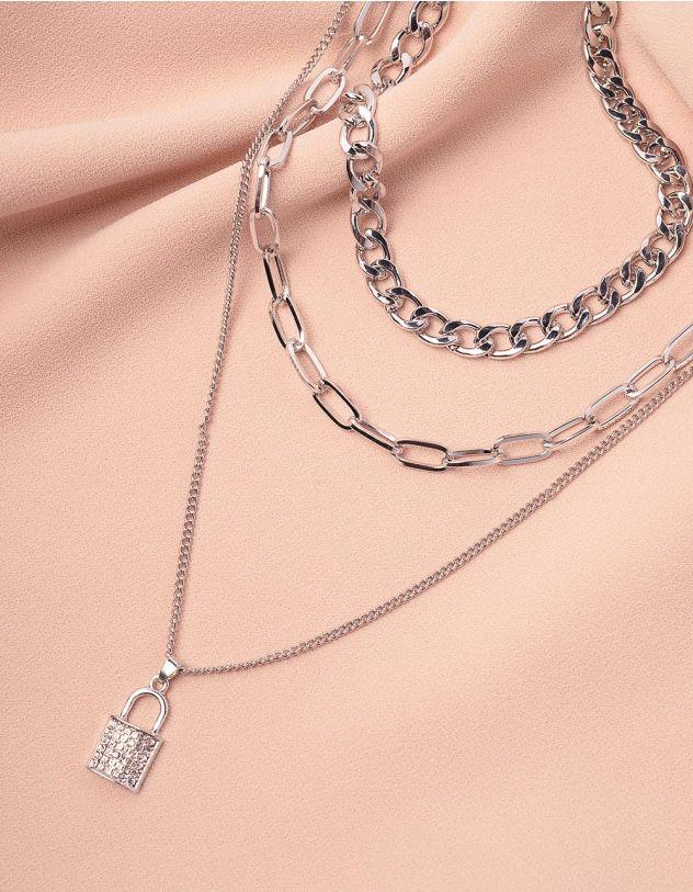 Підвіска на шию із ланцюгів багатошарова з кулоном у вигляді замка | 243844-06-XX - A-SHOP