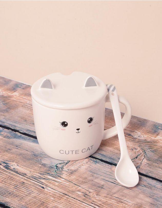 Чашка із зображенням кицьки з вушками на кришці | 239028-11-XX - A-SHOP