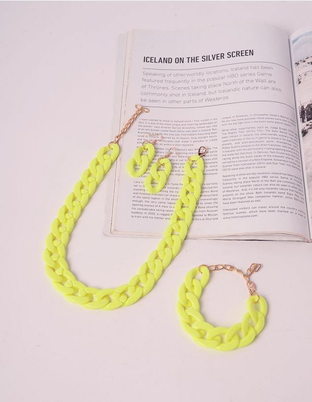 Намисто у комплекті з сережками та браслетом у вигляді ланцюга | 240598-37-XX - A-SHOP