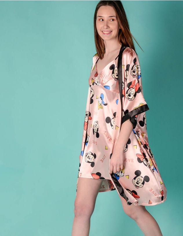 Комбінація у комплекті з халатом з принтом Міккі Мауса   245105-14-03 - A-SHOP