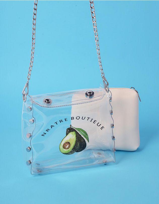 Сумка на ланцюжкі прозора з принтом авокадо та косметичкою | 239297-01-XX - A-SHOP