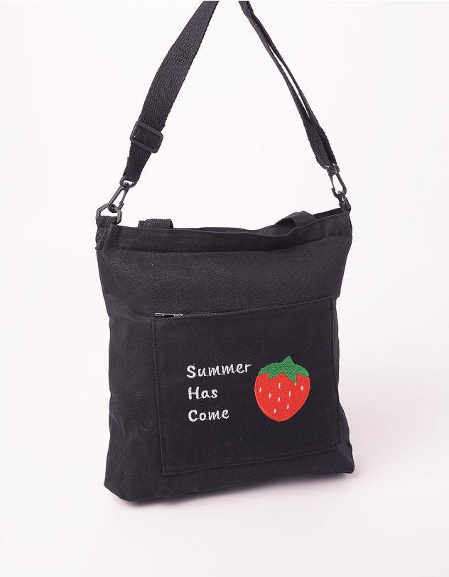 Сумка шопер на літо з написом та принтом полуниці на кишені | 244565-02-XX - A-SHOP
