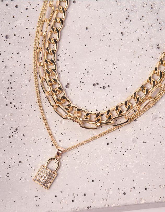 Підвіска на шию із ланцюгів багатошарова з кулоном у вигляді замка | 243844-08-XX - A-SHOP