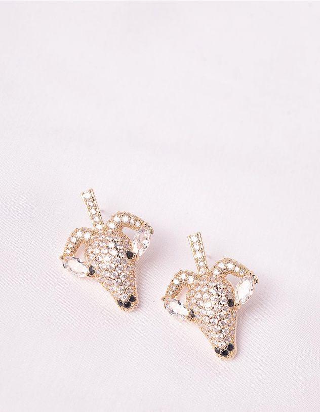 Сережки у вигляді голови кози декоровані стразами | 247683-08-XX - A-SHOP