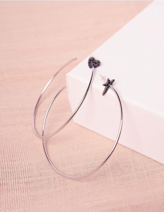 Сережки кільця з серцем та зірочкою | 245054-07-XX - A-SHOP