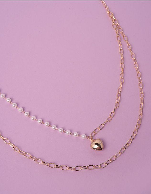 Підвіска на шию подвійна із ланцюжка та перлин з кулоном у вигляді серця | 248716-08-XX - A-SHOP