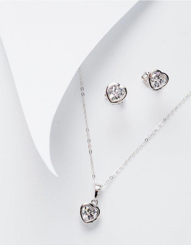 Комплект із підвіски та сережок з кулонами у вигляді сердець | 228471-06-XX - A-SHOP