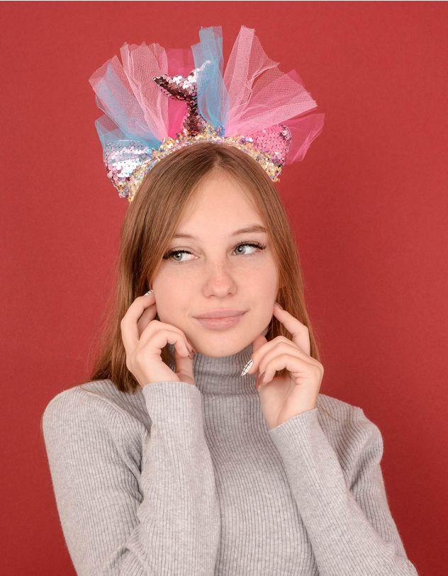 Обідок для волосся з хвостом русалки із паєток | 239236-14-XX - A-SHOP