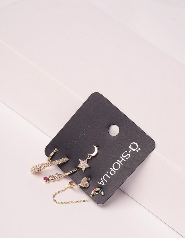 Сережки у наборі у вигляді булавки з кулонами у вигляді місяця з зіркою | 246161-04-XX - A-SHOP