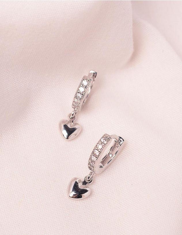 Сережки з серцями  інкрустовані стразами | 245995-06-XX - A-SHOP